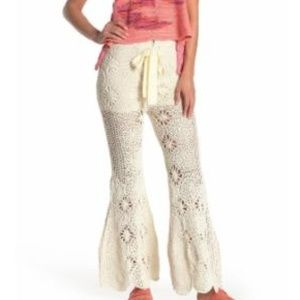 FREE PEOPLE Dragonfly Crochet Flate Pants-XS/TP